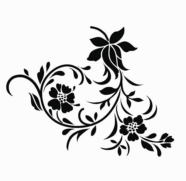 Rose Tattoo Stencil Drawings Illustrations, Royalty-Free