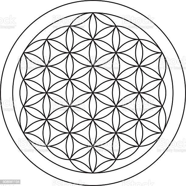 Flower Of Life Sacred Geometry Stockvectorkunst en meer beelden van Balans