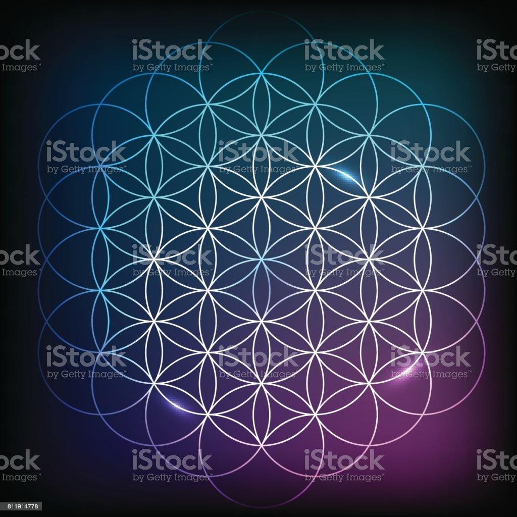 Bloem van het leven. Heilige Geometrie. - Royalty-free Abstract vectorkunst