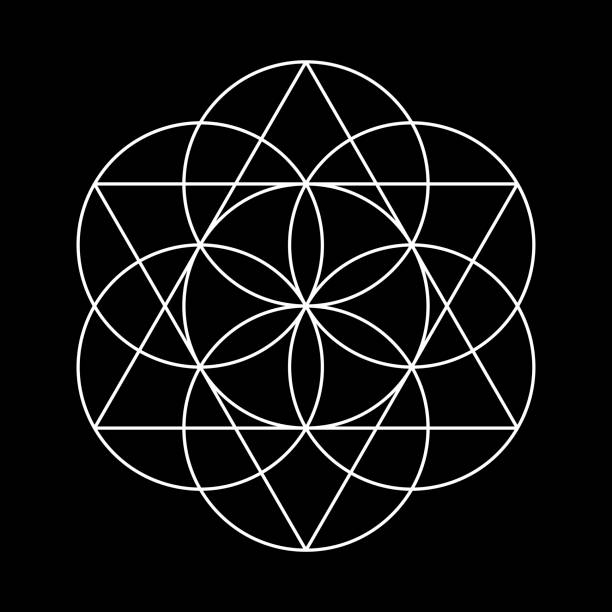 flower of life, sacred geometry - сетка фибоначчи stock illustrations