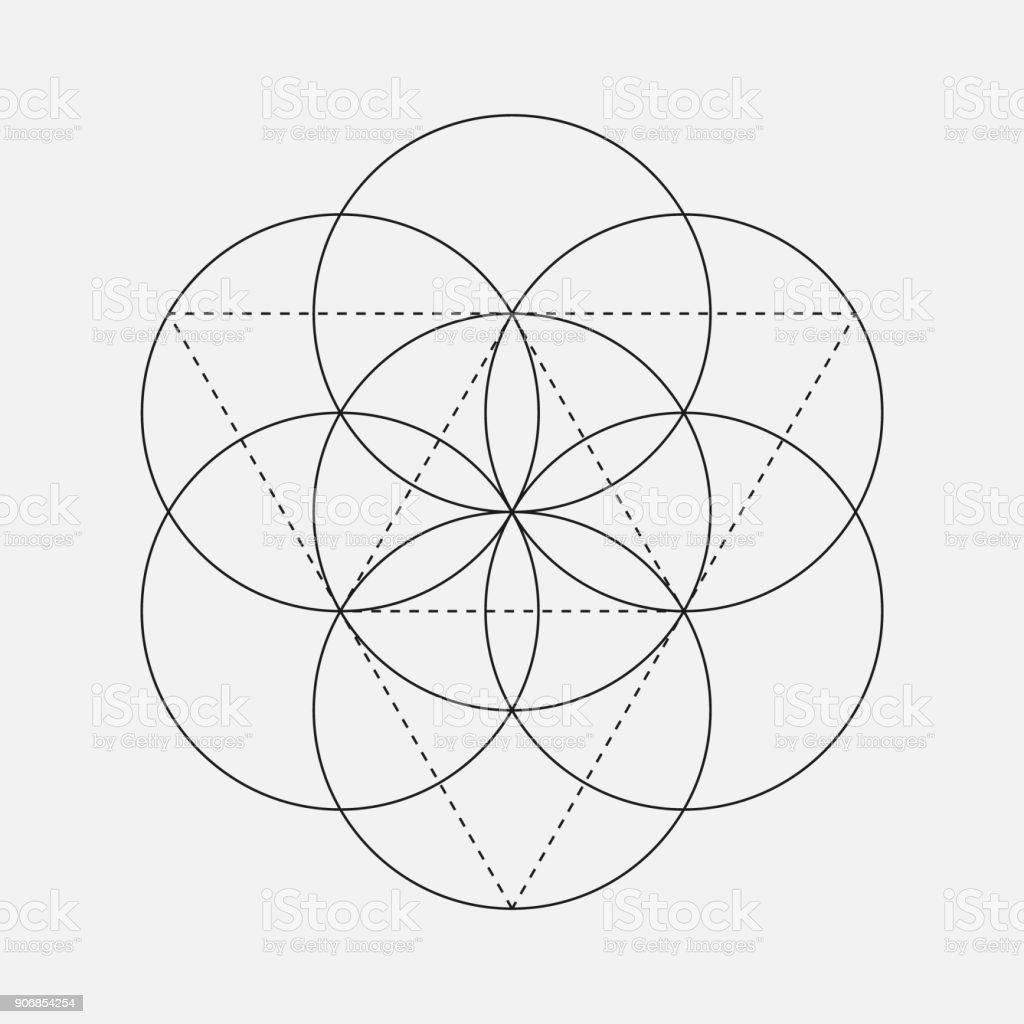 Flower of Life sign. Geometric Symbol