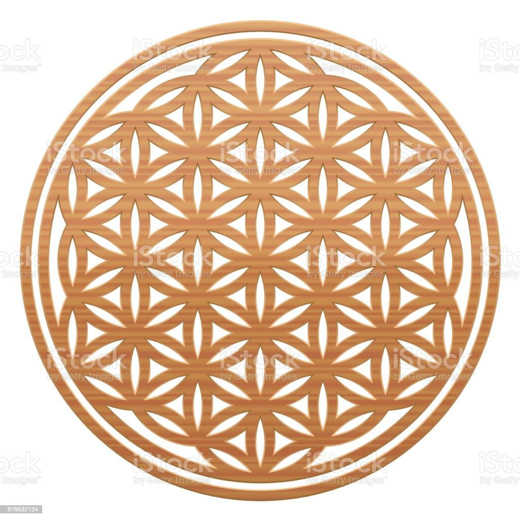 Flower Of Life Wooden Style As A Symbol For Natural Spirituality And