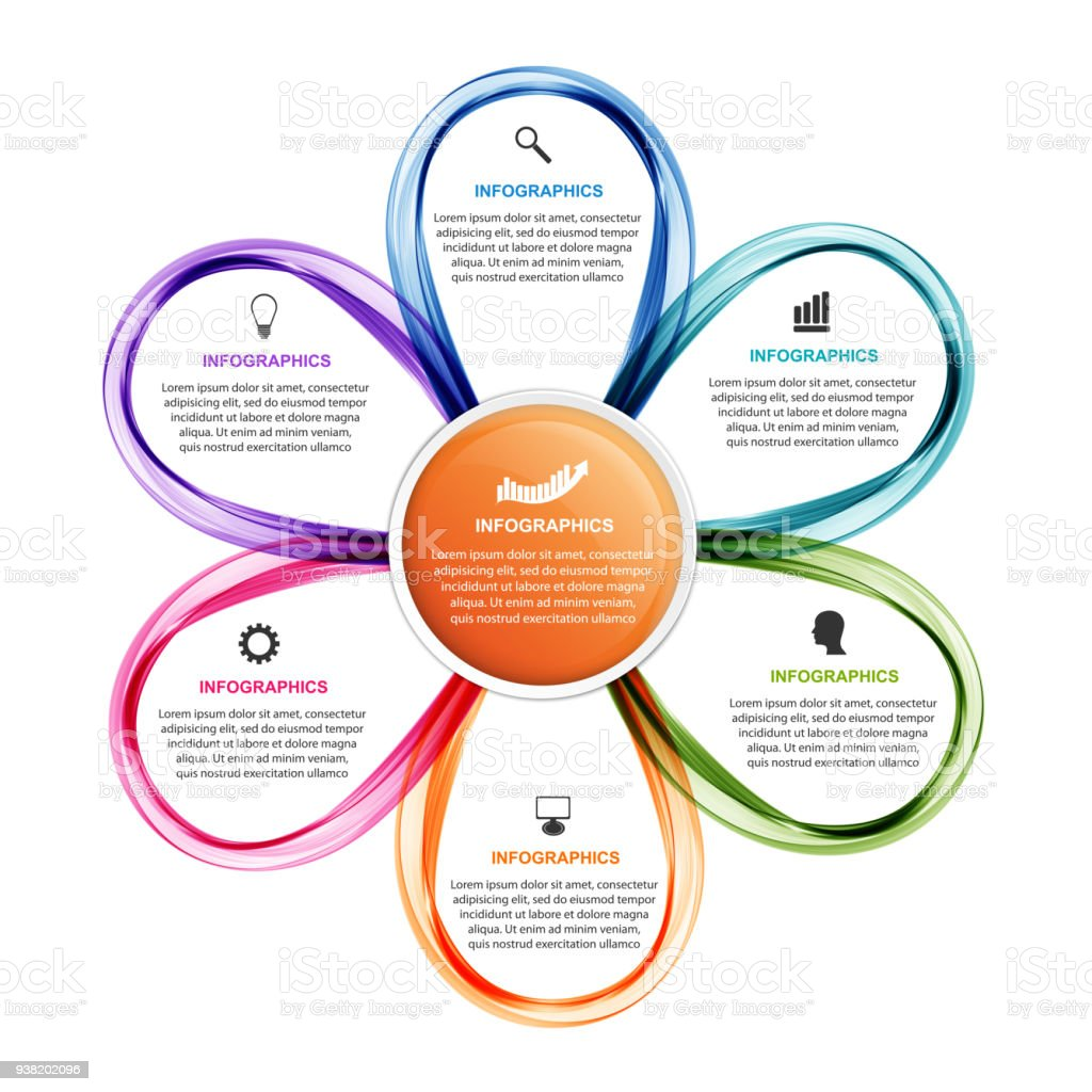 Ilustración de Flor Opciones Infografía La Plantilla Informe De ...
