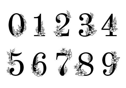 Flower ornate numbers. Elegant blossom number, floral sprigs date and numeric monogram vector illustration set