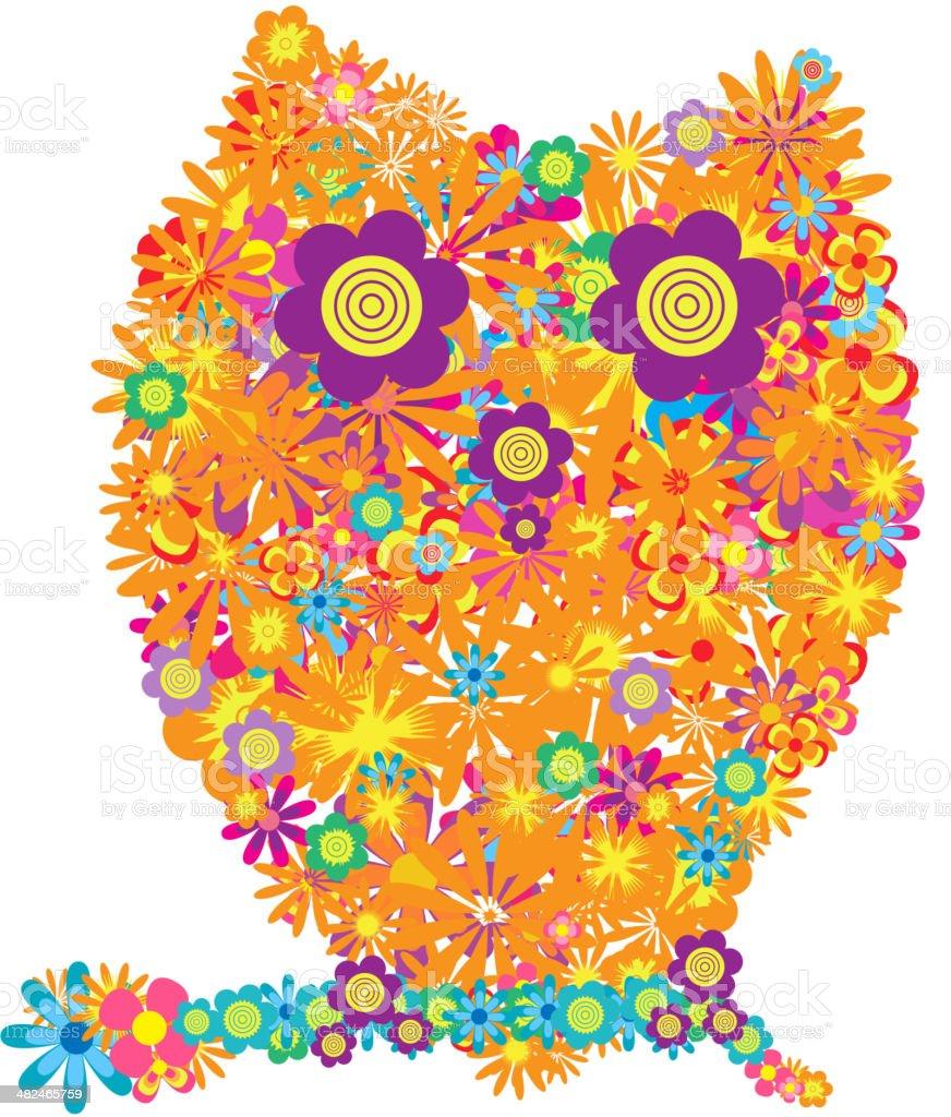 flower owl colorful vector art illustration