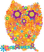 flower owl colorful