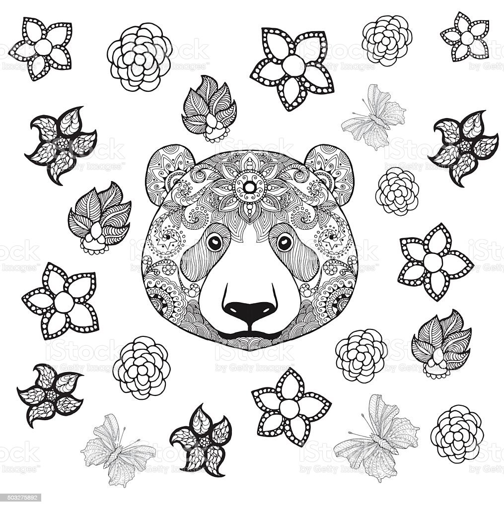 Flower Panda Coloring Page Stock Illustration Download Image Now Istock