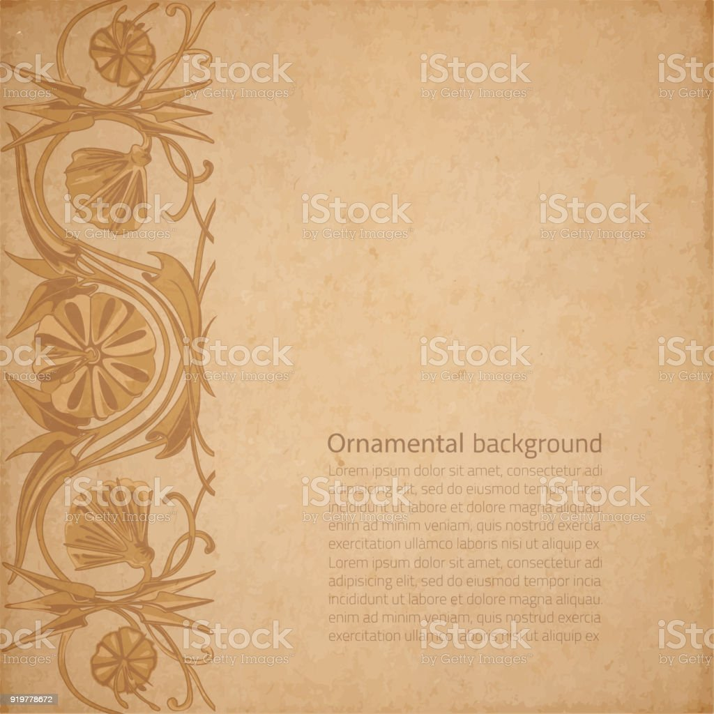 Flower Parchment Background Stock Vector Art More Images Of