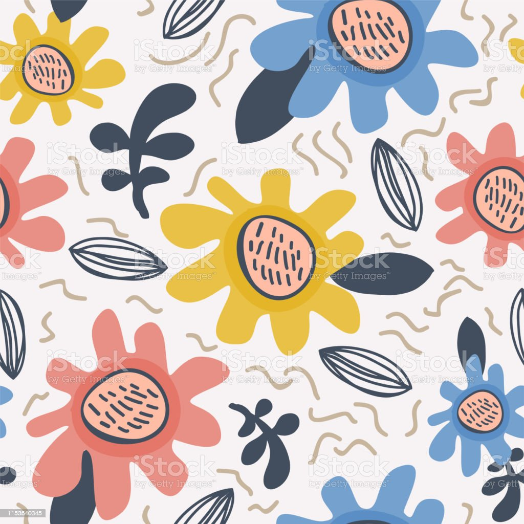 Flower Pattern Scandinavian Childish Drawing Background Stock
