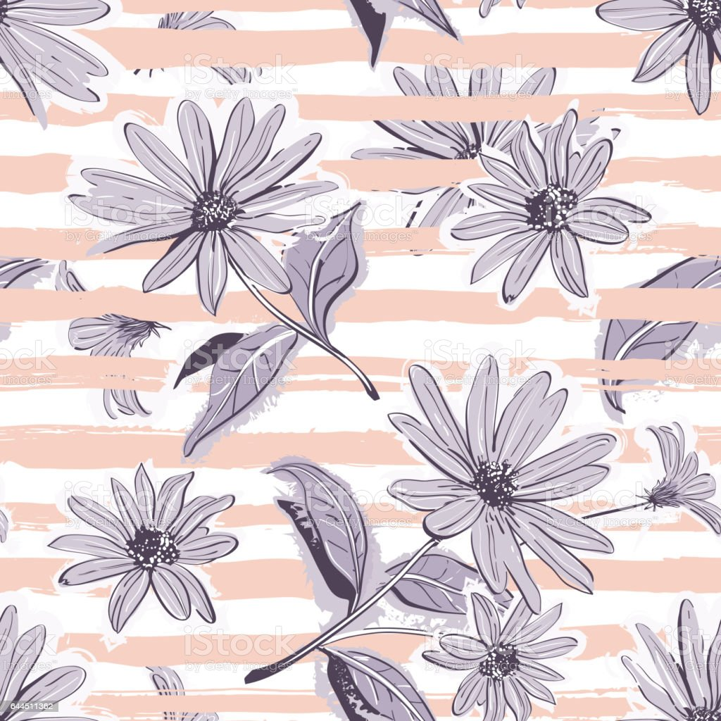 Flower Pattern Seamless Elegant Pastel Striped Background Vintage Flowers Wallpaper Royalty Free