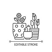 istock Flower planters linear icon 1286391438