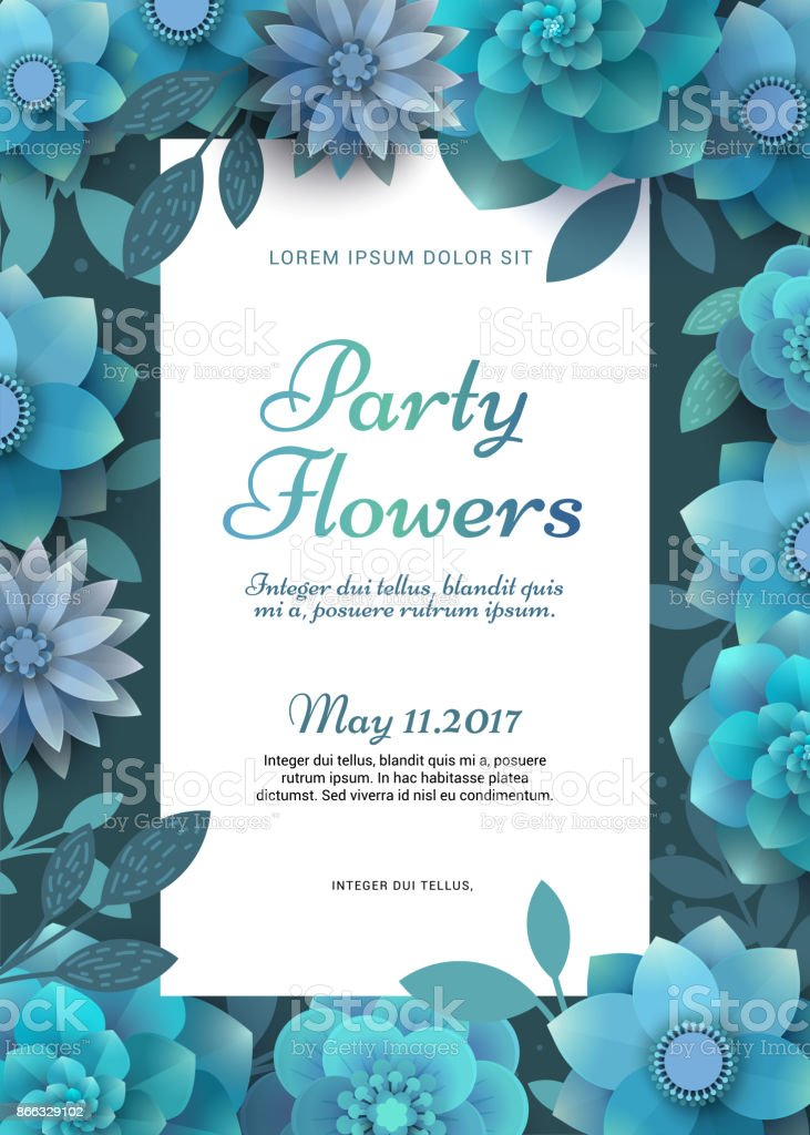 Flower poster for a party. vector art illustration