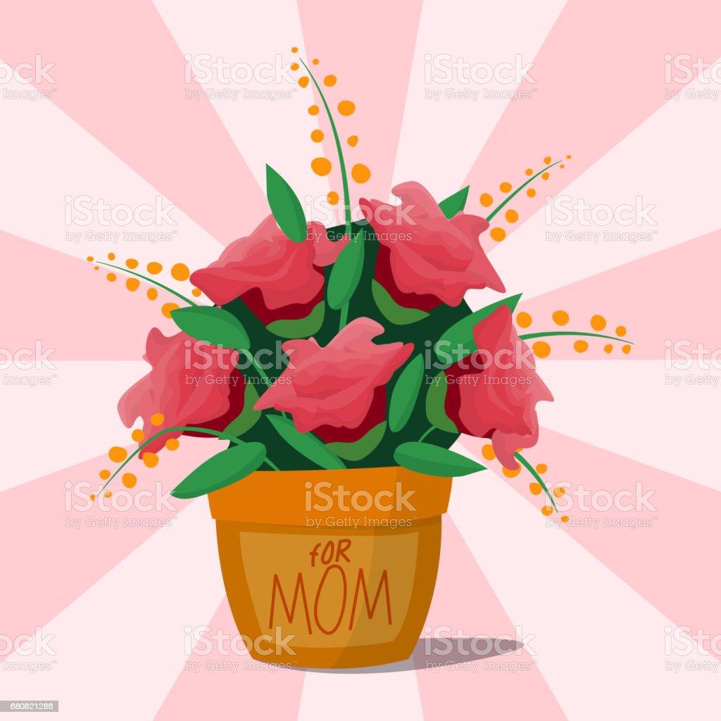 Flower pot botanical natural blossom flora beautiful bloom decoration vector illustration vector art illustration