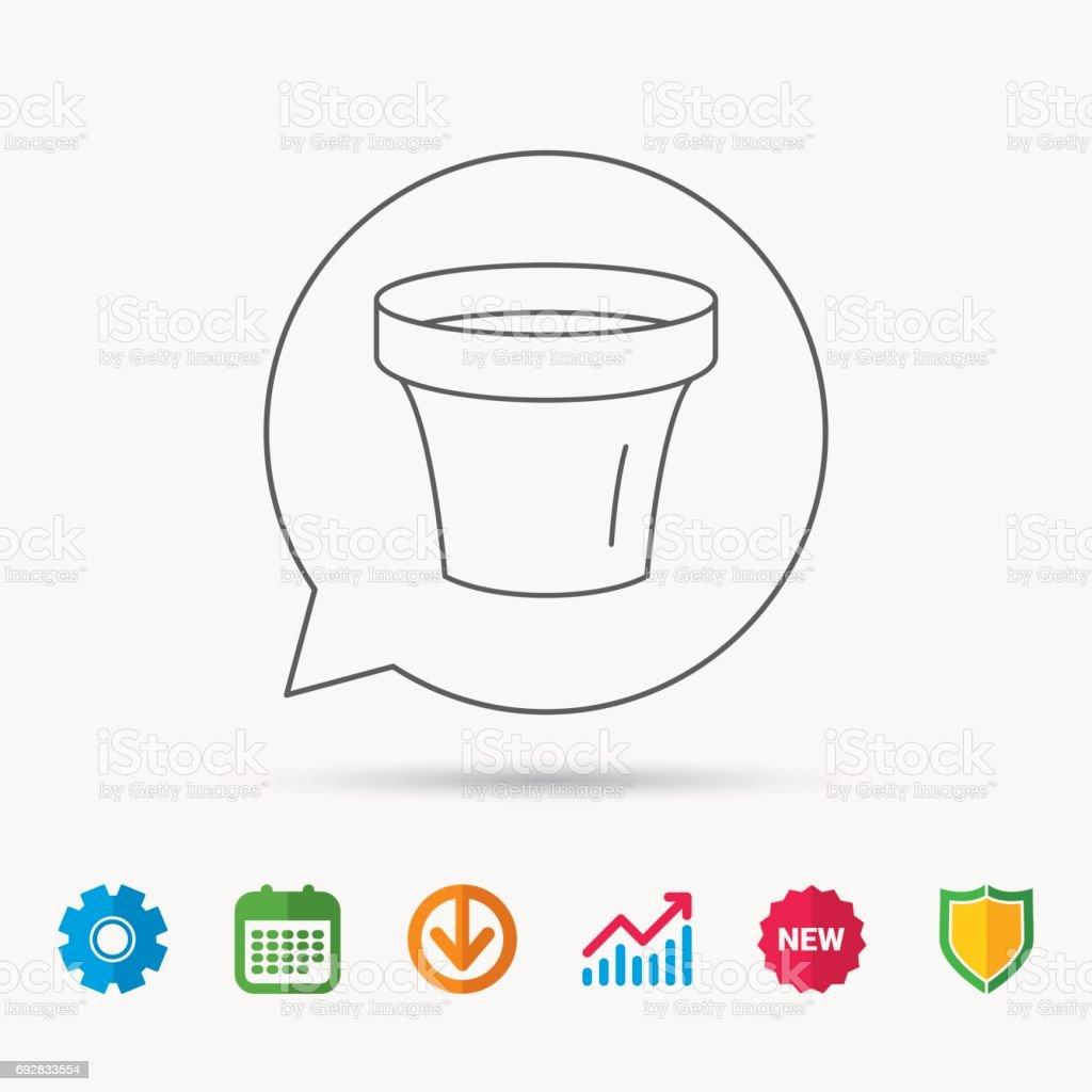Flower pot icon. Gardening ceramic container sign. Calendar, Graph...