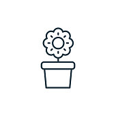 flower pot vector icon isolated on white background. Outline, thin line flower pot icon for website design and mobile, app development. Thin line flower pot outline icon vector illustration
