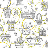 Flower pots and house plants seamless pattern in ethnic ornate boho style. Can be printed and used as wrapping paper, home decoration, wallpaper, textile, fabric, etc.
