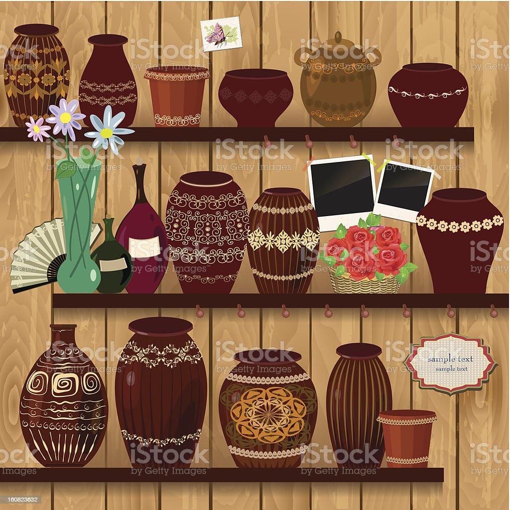 Flower pots on wooden shelves vector art illustration