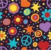 Flower power hippie seamless pattern