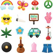 Colorful Flower power icons.