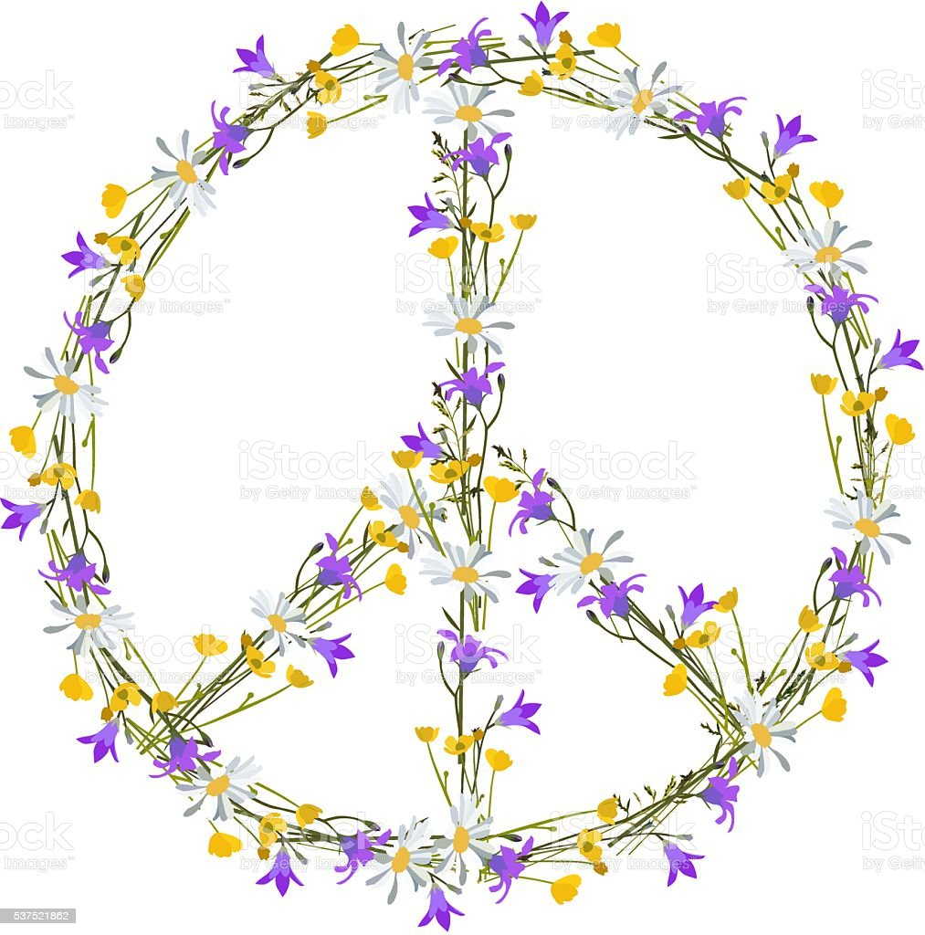 Flower Power Peace Symbol Stock Vector Art More Images Of 1970