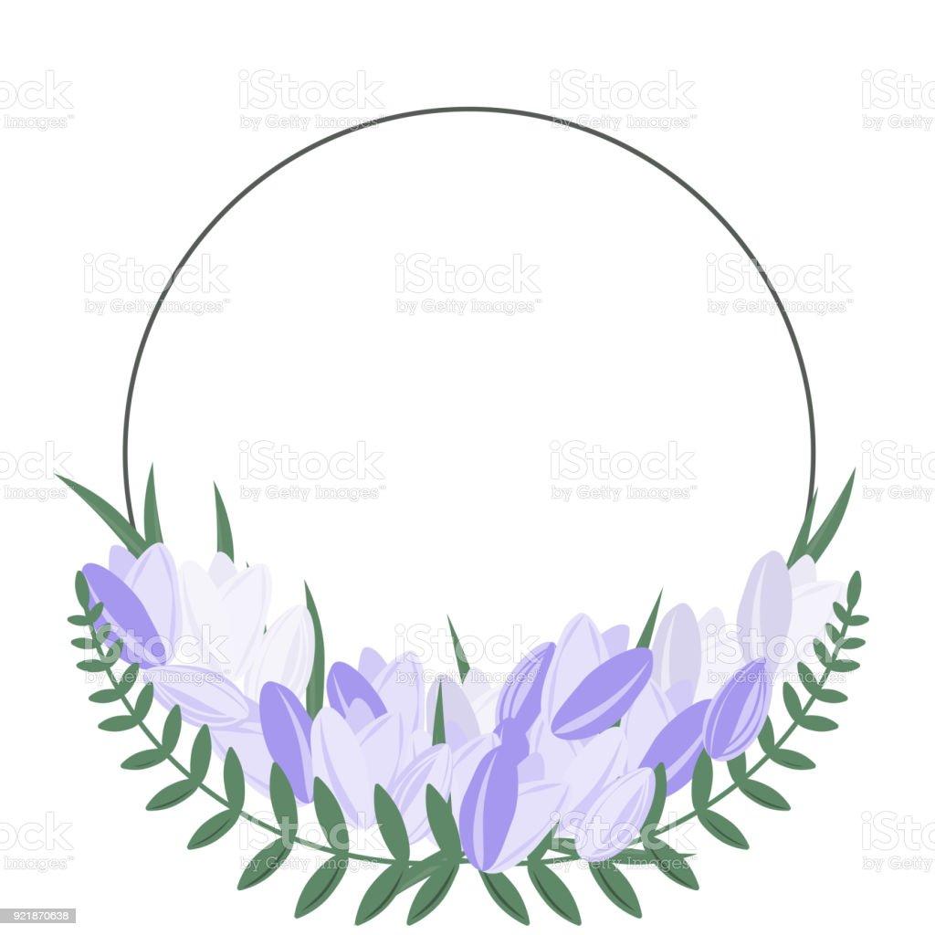 Ilustración de Flor Redonda De Marco Con Flores De Color Púrpura Y ...