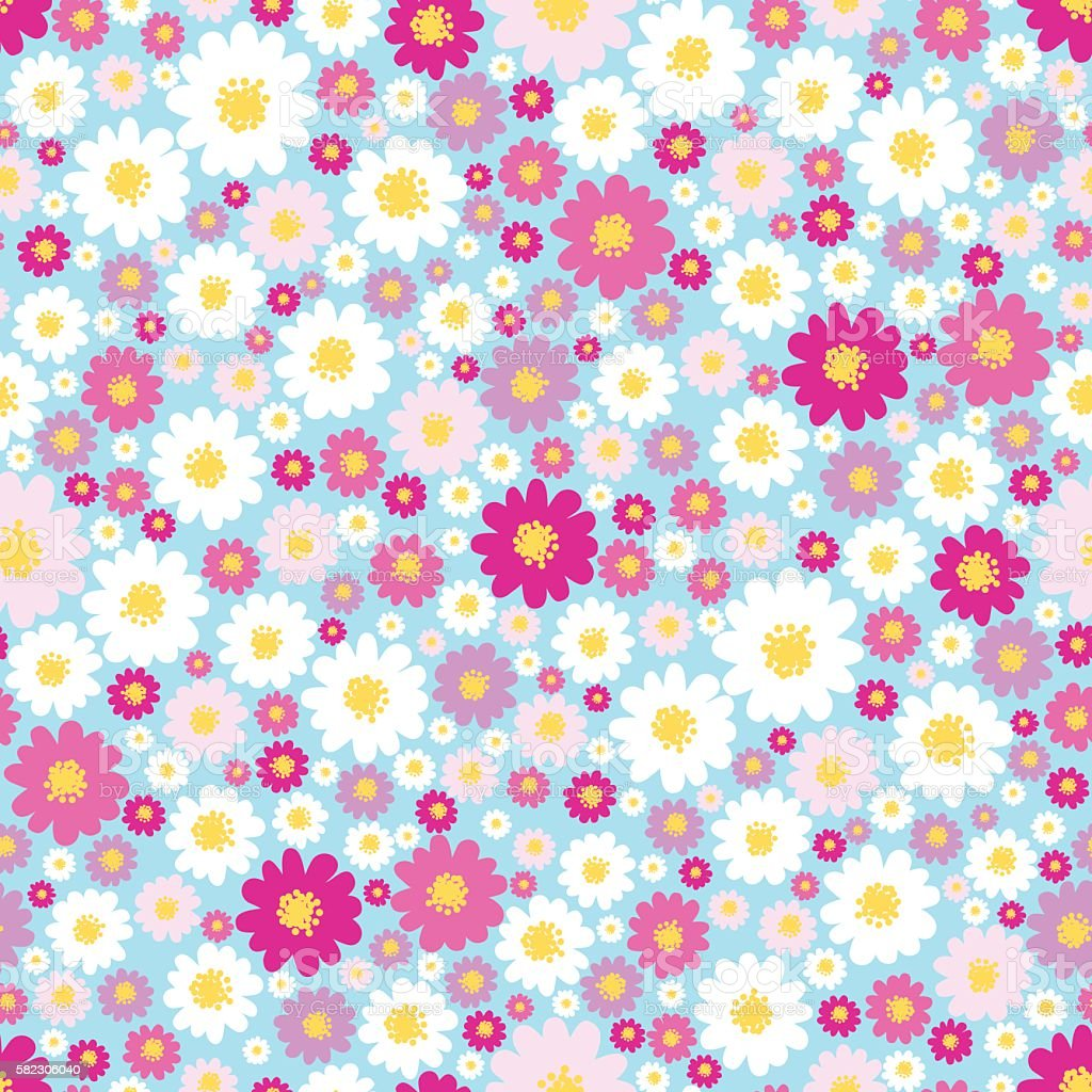 Flower seamless pattern. vector art illustration