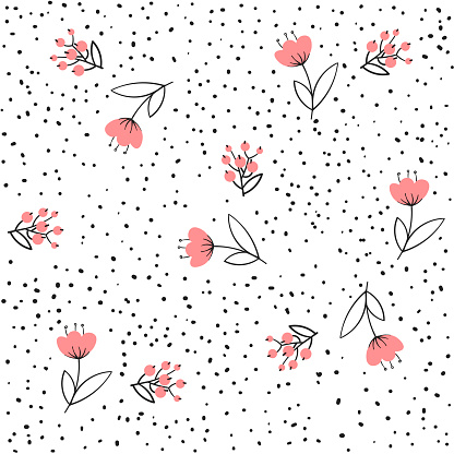 Flower Seamless Pattern Vector Simple Floral Print With Small Rose Background Vector Illustration Design Stock Illustration - Download Image Now