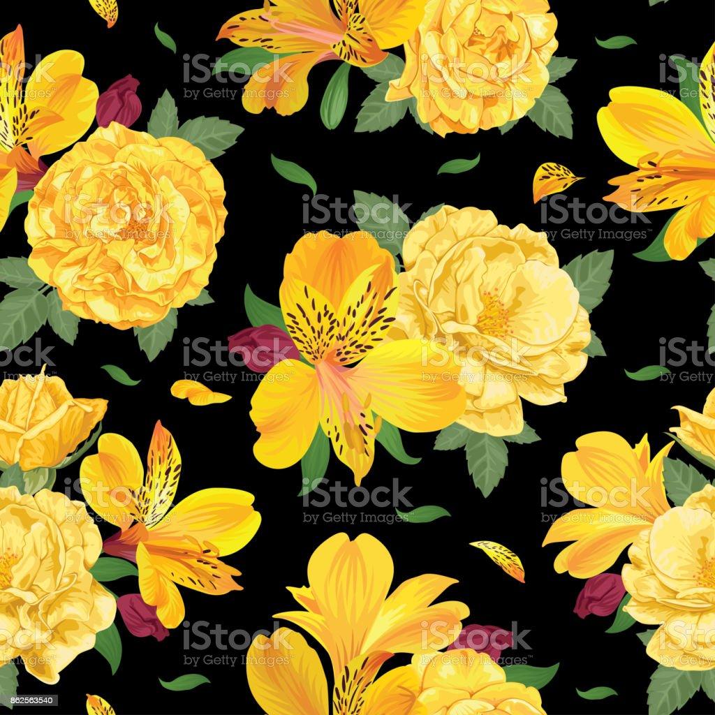 Patrón transparente de flor de alstroemeria amarillo hermosa lily flores y rosas en la plantilla de fondo negro. - ilustración de arte vectorial