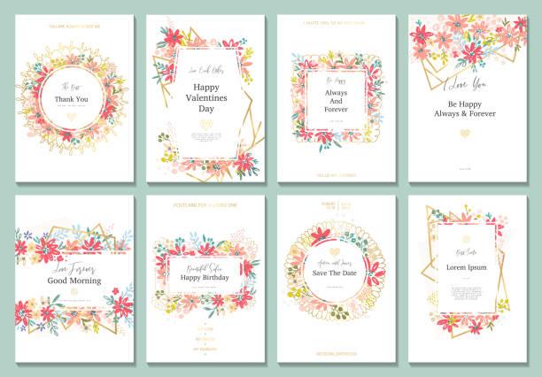 花のバナーの設定 - 花のフレーム点のイラスト素材/クリップアート素材/マンガ素材/アイコン素材