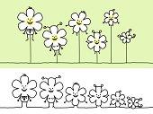 hand drawn cartoon characters - flower shape family