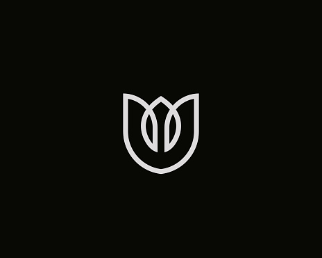 Flower shield vector logo. Linear tulip crown premium icon logotype.