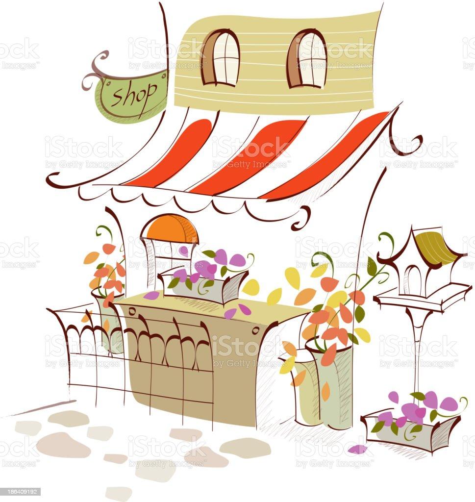 Flower shop exterior vector art illustration