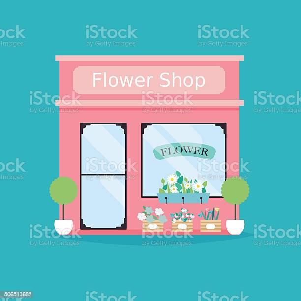 Fleuriste Façade Illustration Vectorielle De Magasin De Fleurs Bâtiment Vecteurs libres de droits et plus d'images vectorielles de Abaisser