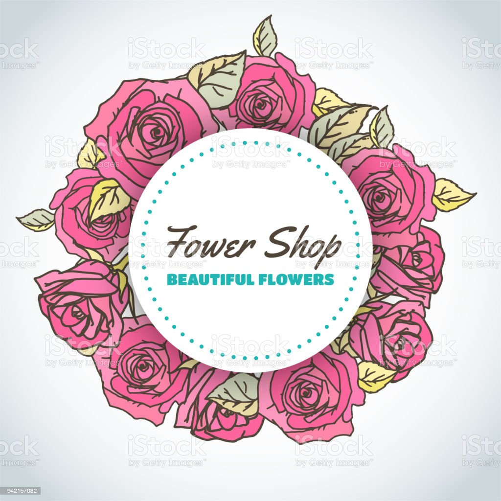 flower shop floral background for beauty salon template roses around
