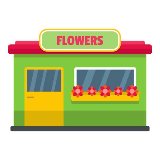 flower shop-symbol, flachen stil - dachpfannen stock-grafiken, -clipart, -cartoons und -symbole