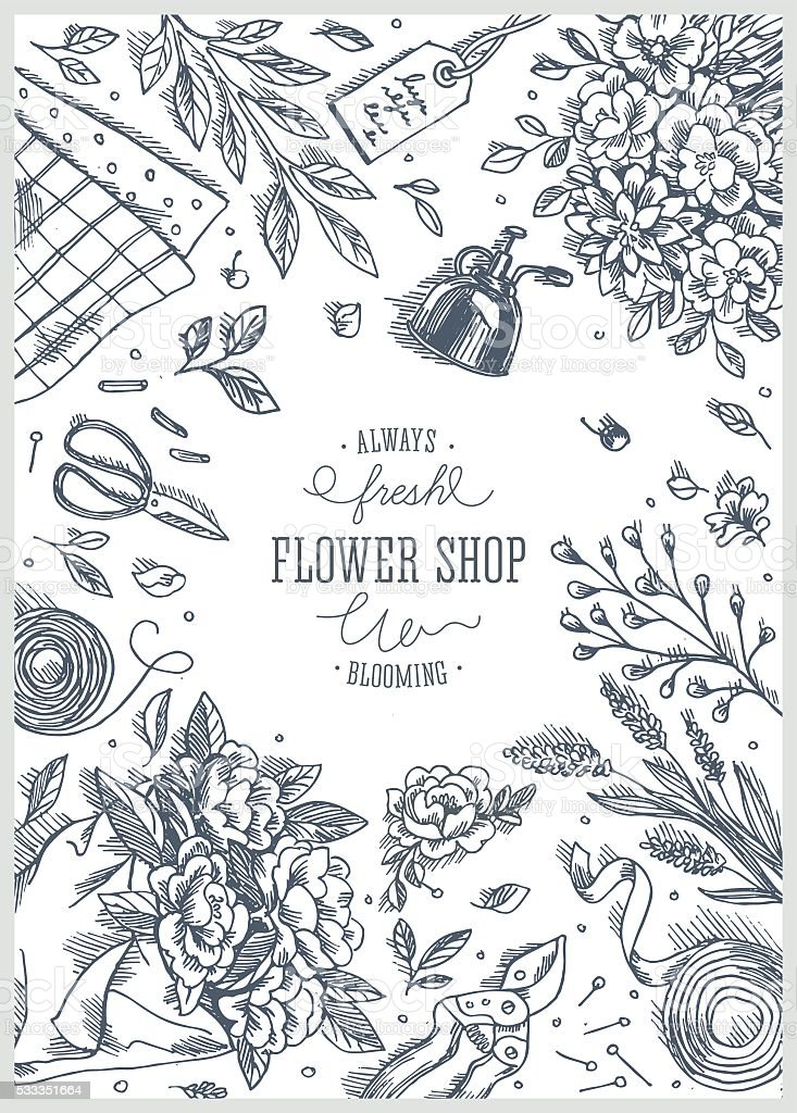 Flower Shop Linear Graphic Top View Vintage Illustration Stock ...