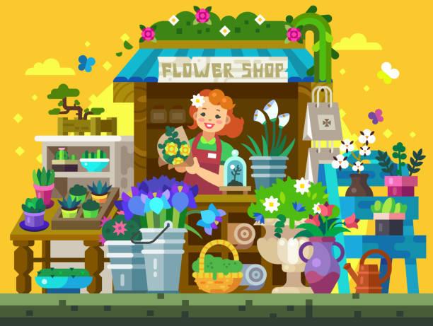 flower shop showcase - schrankkorb stock-grafiken, -clipart, -cartoons und -symbole