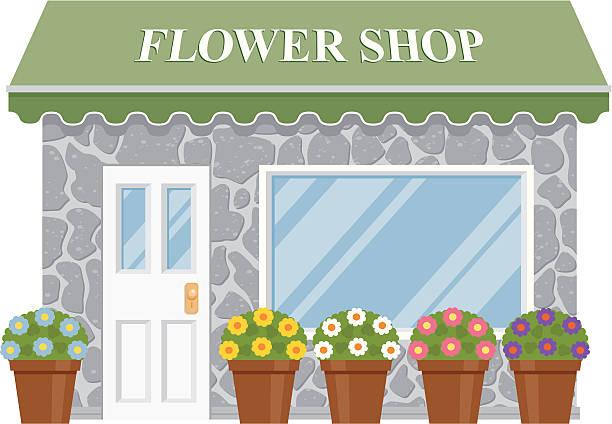 illustrations, cliparts, dessins animés et icônes de magasin de fleurs - vitrine magasin