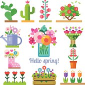 Flower shop. Hello spring and summer. Tulips, cactus, roses, peonies. Vector flat  illustrations, icons and sprites for game