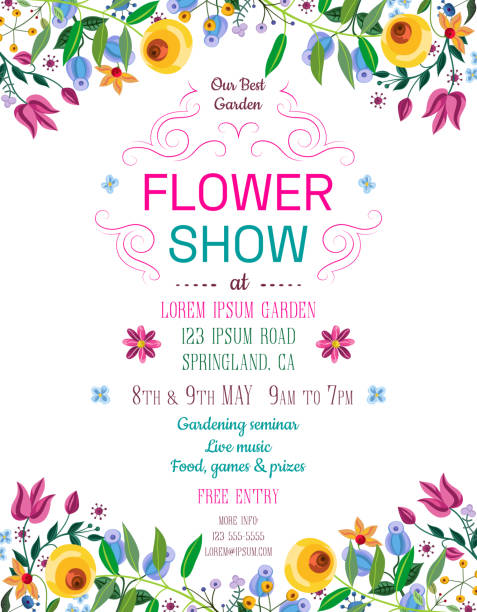 Flower show announcing poster template. Text customized for invitation to event. Garden party layout with fancy flowers in folk painting style. Vector illustration. spring stock illustrations