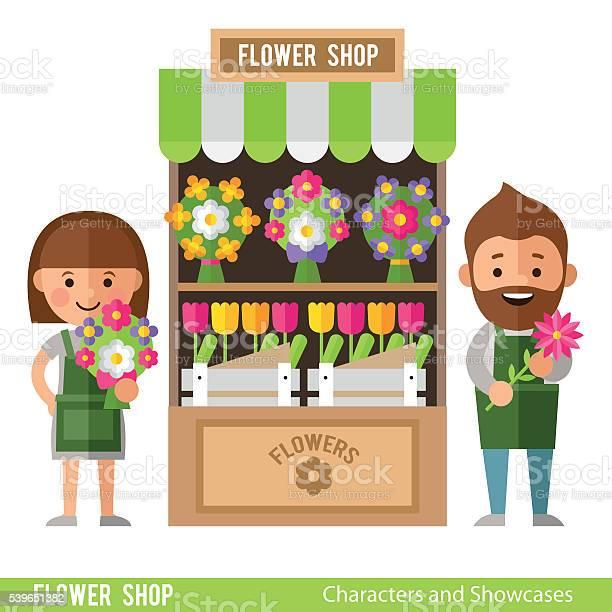 Flower Showcases And Florists In A Flat Style Vecteurs libres de droits et plus d'images vectorielles de Adulte