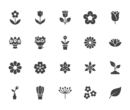 Flower silhouette icon set. Rose, tulip in vase, fruit bouquet, spring blossom, cactus, chamomile, sakura minimal vector illustration Simple black solid glyph signs for flowers delivery application