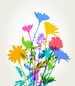 Colourful silhouettes of Flowers for Spring or Mothers Day