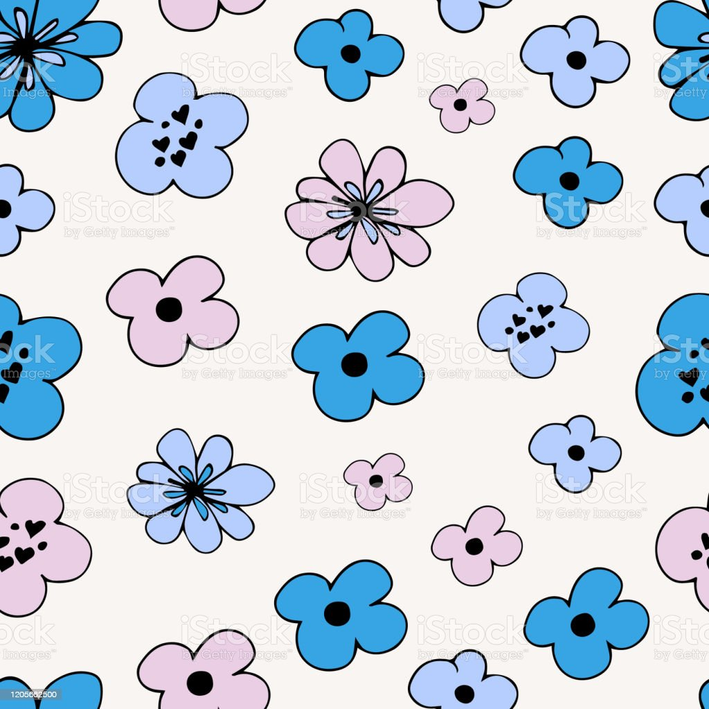 Flower Simple Minimalistic Seamless Pattern Graphic Design For