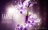 purple flower skincare product contained in cosmetic bottle, 3d illustration