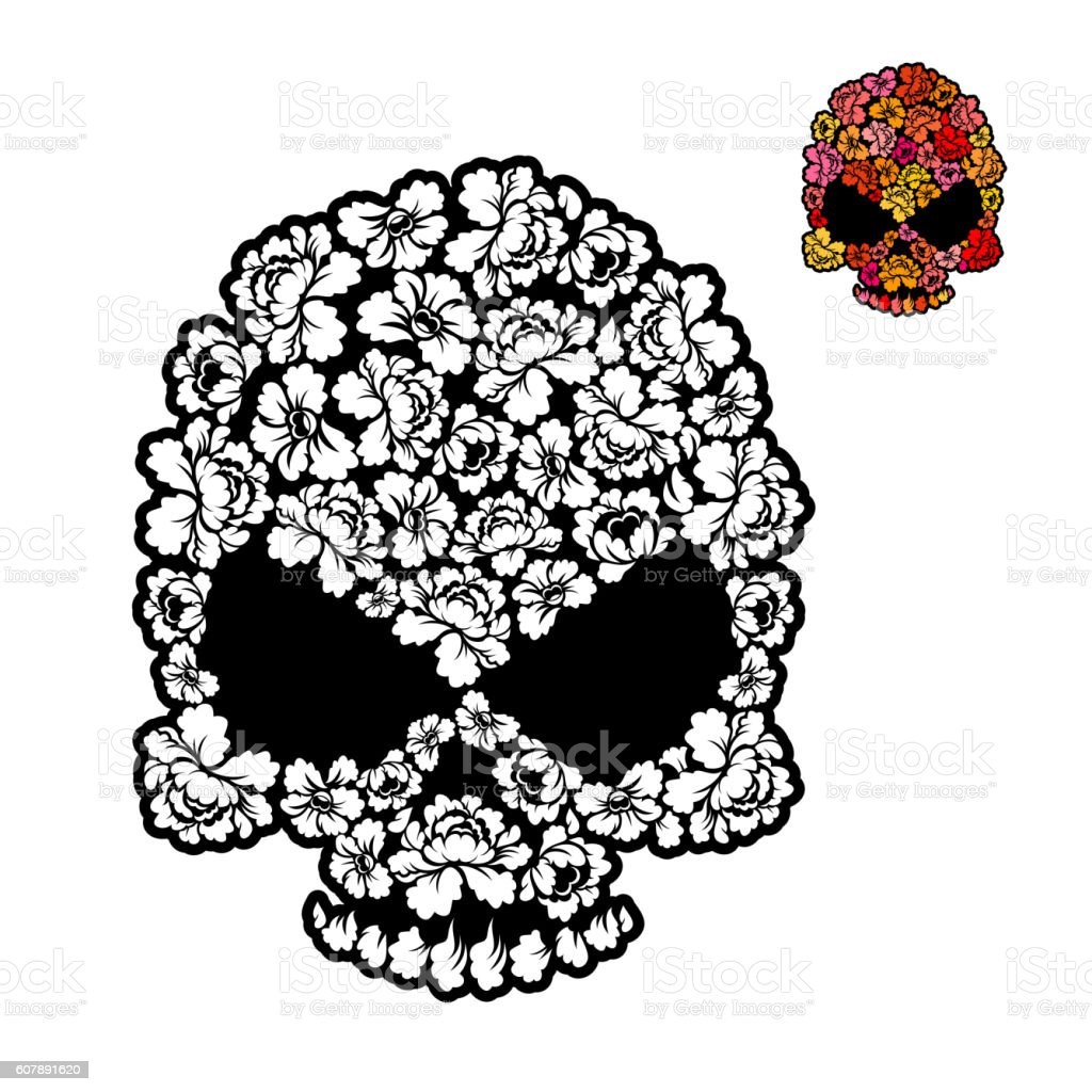 Flower Skull Coloring Book Mexican Head Skeleton Of Rose Petals ...