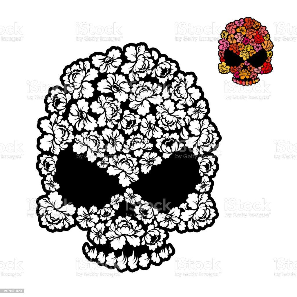 flower skull coloring book mexican head skeleton of rose petals