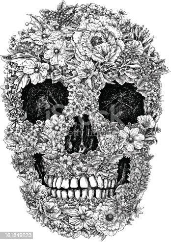Flower Skull Linework Vector