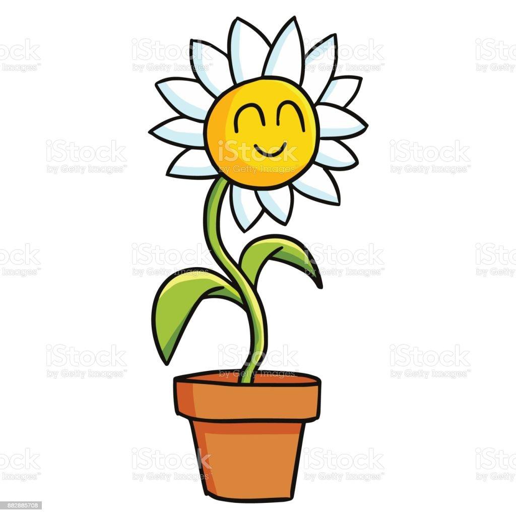 Souriant Dans Le Pot De Fleurs Vector Cliparts Vectoriels Et Plus