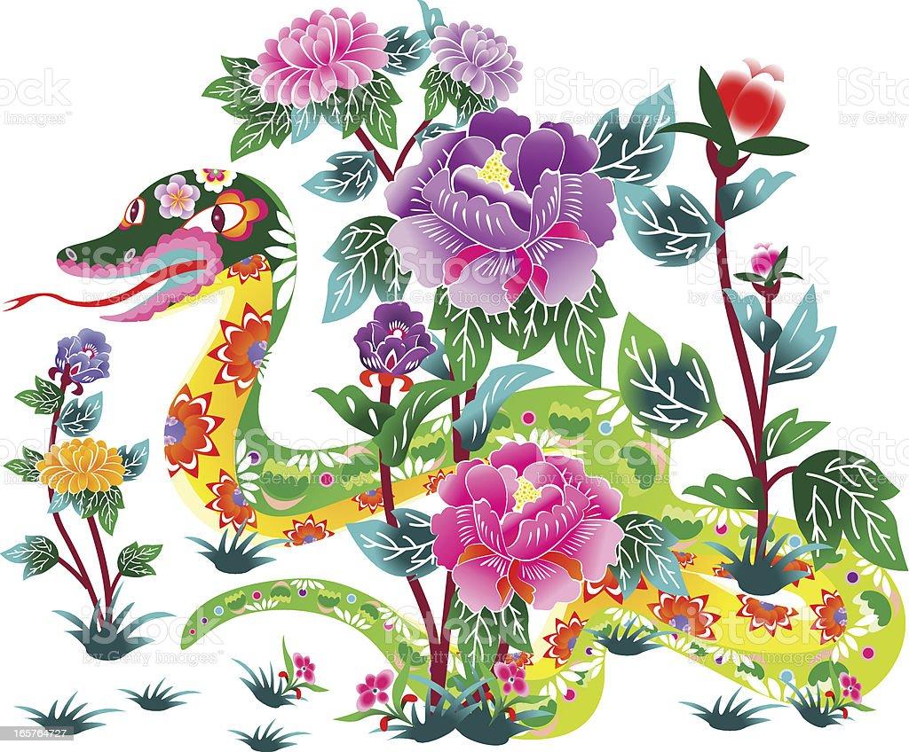 Flower Snake vector art illustration